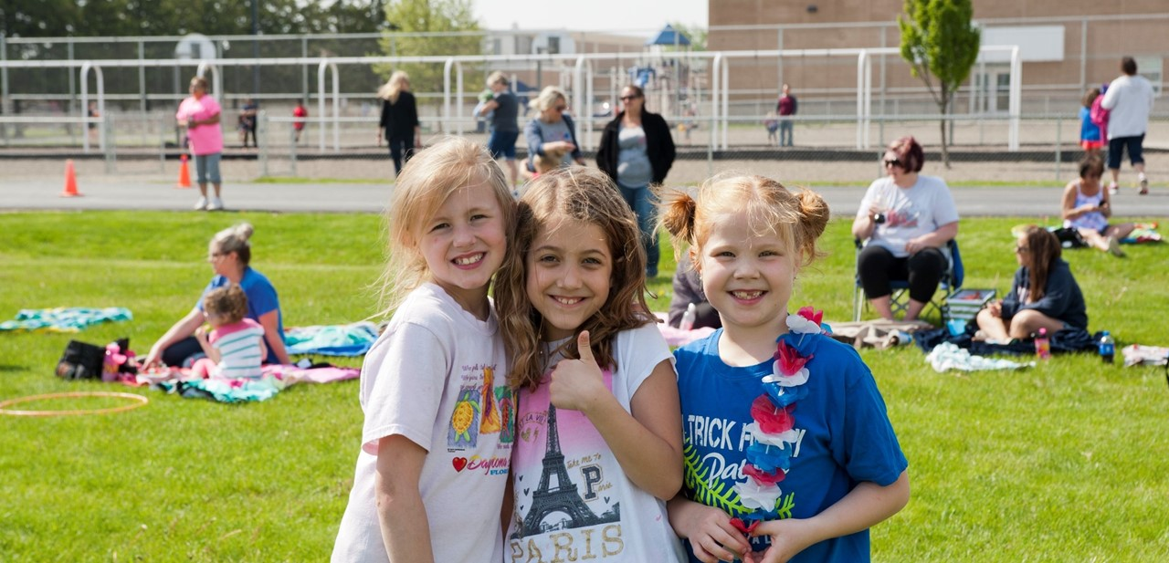 Patrick Henry Girls Smiling at Field Day