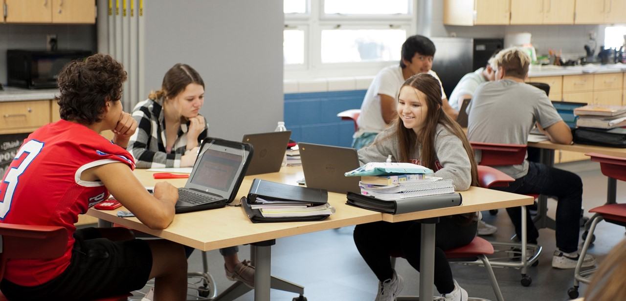 High School Students in Class at Work